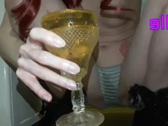 Hot Redhead Mom Squirt In Panties,Piss in The Glass And Spit Into It