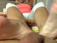 Blonde russian girl footjob w/ french toes