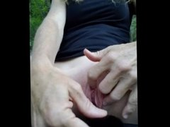 Naughty girl plays with clit, Close up pussy play with insertion