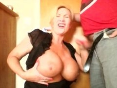 Hair pulled really hard screaming while I wank his cock