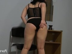 Anal with a chair leg, young brunette