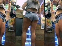 Candid Smokin' Hot Milf in Tiny Jean Shorts