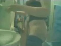 My mom fingering in bath room caught by hidden cam