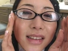 Sexy japanese babe in glasses greased in schlong juice