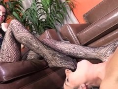 Naked Foreign slave girl licks pantyhosed feet