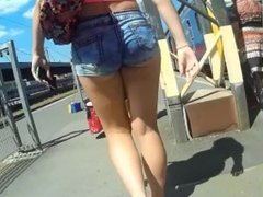 Candid Tight Jeans Shorts Ass Walking