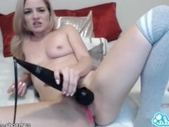 Lisey Sweet sexy blonde masturbating with huge toy.