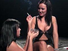 Amber Leigh & Lolly Badcock - Dominates her Naked Female Slave