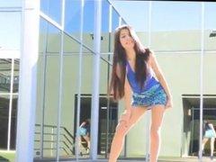Sexy teen girl in blue mini skirt.avi