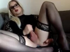 CD in stocking and heels jerking