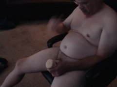 GETTING A HARD-ON WITH BLOWJOB TOY THEN JACKOFF WITH COMMING AND CUM