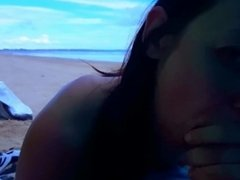Quick amateur blowjob at beach. I suck and swallow