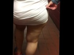 See through white dress peach panties in public
