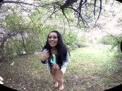 RealityPussy.com - Big tits brunette outdoor dildo fucking