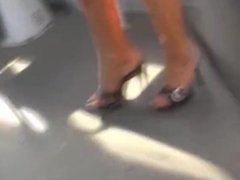 Candid Gorgeous Sexy Lady In High Heel Mules