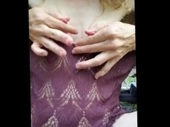 mountain babe tortures and milks hard pink nipples in the woods!!!!
