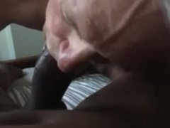 White daddy suck a big black cock