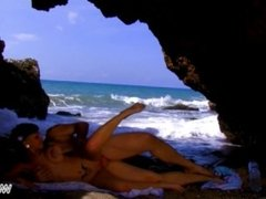 Dirty talking tattooed slut fuck older stranger right in the sea & eat cum