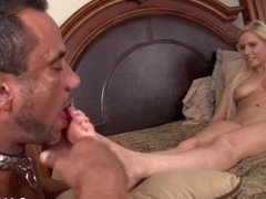 Slave worship his mistress feet.