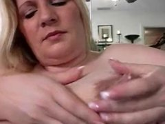 Blonde big tit BBW milf squirts milk from huge tits