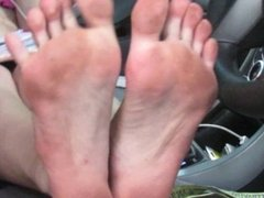 Hot girl on the phone with boyfriend in jail while showing soles...