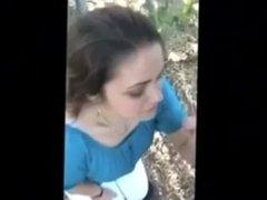 Co worker blowjob in woods swallow