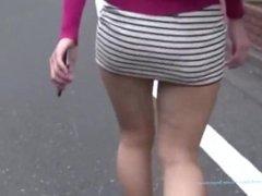 Sexy japanese MILF walking in tight miniskirt upskirt candid ass exposure !