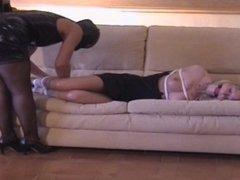 Fetisch-Concept.com - Couch Bondage and ballgagg for a blonde maid