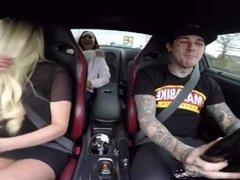Hidden cam in the car enjoy stupid girl in miniskirt upskirt panty flashing