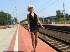Sexy blonde smoke in public