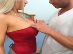 Blonde Mom With Huge Tits Gets Tricked Into Riding Cock On Cam