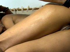 Hot brazilian MILF having anal fun with the plumber