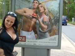 sexy german big boob woman fucking herself in public at a bus stop omg