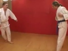 Competitive mixed judo match