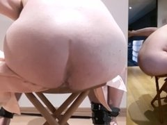 Hard punishment on daddy until ass gets red and bruised - leather flogging