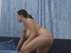 Busty girl using her fingers to cum hard