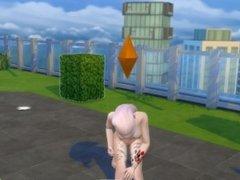 My sim girl masturbating on outdoor balcony
