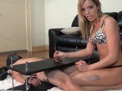 bella handjob tied man