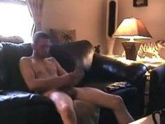 gay friend sucking his straight guys bushy cock and swallows his cum