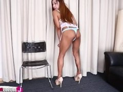 Tattooed Asian Tgirl Cake in white lingerie rubs her cock
