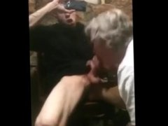old man sucks a young in the restaurant