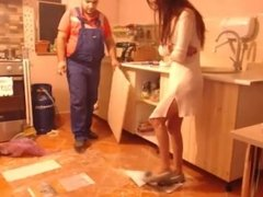 Hot Wife Dildo Orgasm Seduce Plumber In Kitchen While Husband's Away!!!
