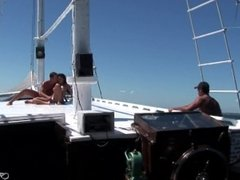 Brazilian brunette anal summer DP on sailboat