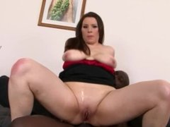 Busty brunette in lingerie gets big black cock in her ass