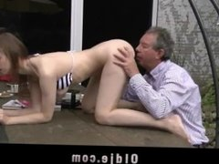 Perfect Natural Teen Fucked by Grandpa Outside And Swallows His Cum