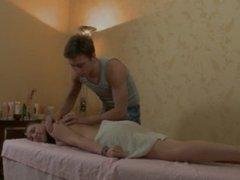 Teen Gets Massaged And Eats Cum