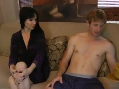 Step mom helps get rid of morning wood