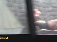 Cop fucks readhead slut on balcony