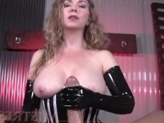 Porn cock milked with latex gloves
