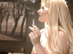 Lizzie Murphy - Smoking in Red Dress